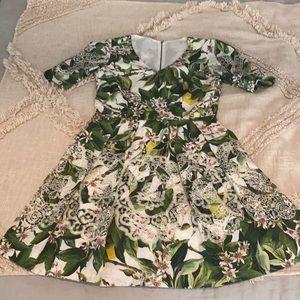 VINTAGE Dolce & Gabbana lemon/leaves print dress